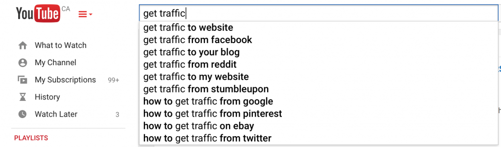 youtube search auto complete